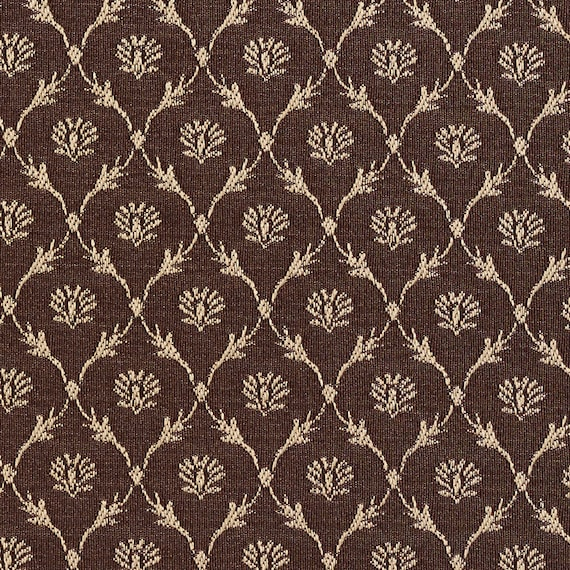 Brown Floral Trellis Jacquard Woven Upholstery Fabric By The Etsy