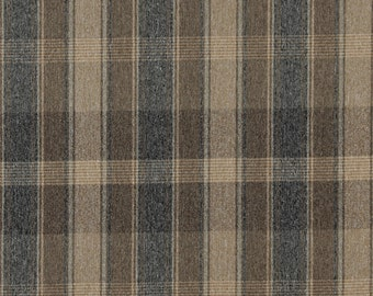 Brown Dark Blue And Beige Large Plaid Country Style Upholstery Fabric By The Yard | Pattern # C641