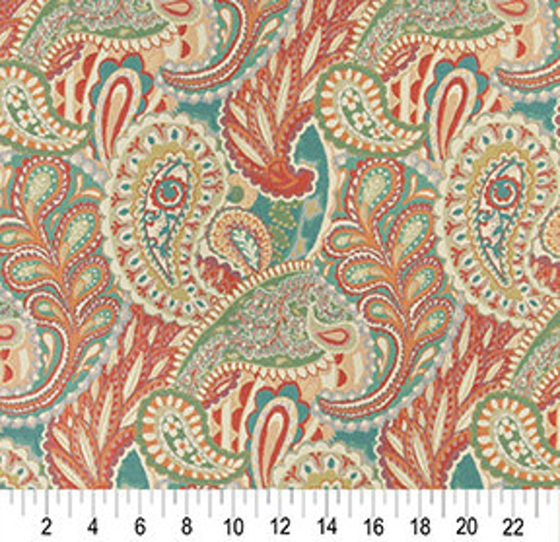 Orange Teal Green And Orange Abstract Paisley Contemporary Upholstery Fabric By The Yard Pattern # A0024A