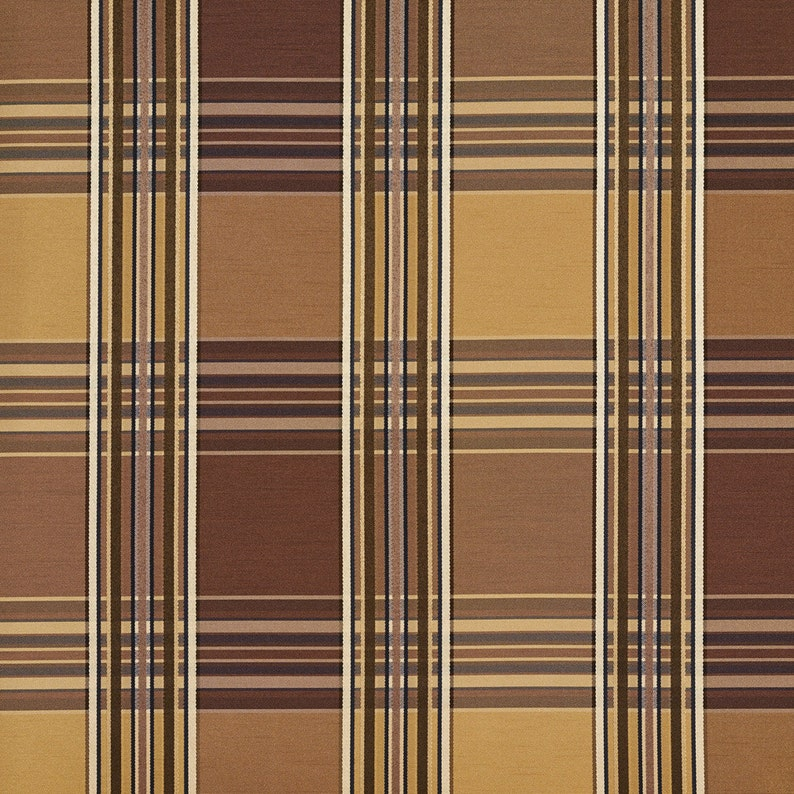 Pattern # B0220E Brown And Gold Shiny Various Size Stripes Plaid Silk Satin Look Upholstery Fabric By The Yard