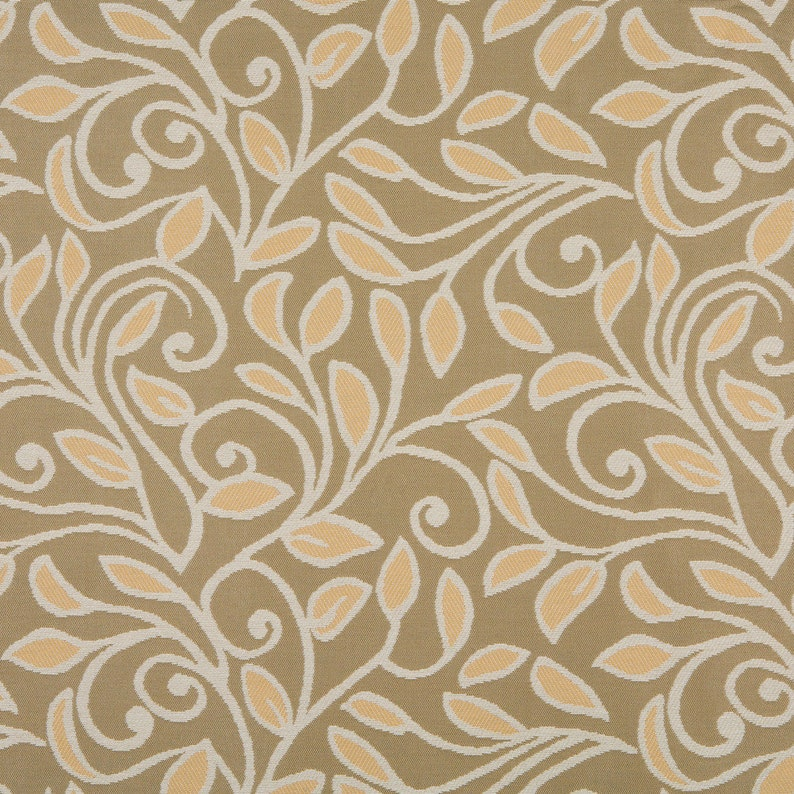 Pattern # A0131A Gold Beige And Tan Vines And Leaves Woven Solution Dyed Indoor Outdoor Upholstery Fabric By The Yard