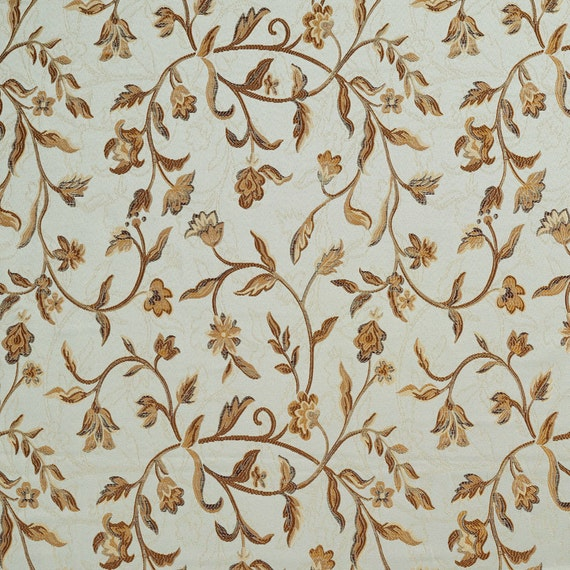 light blue gold brown and ivory embroidered floral brocade etsy
