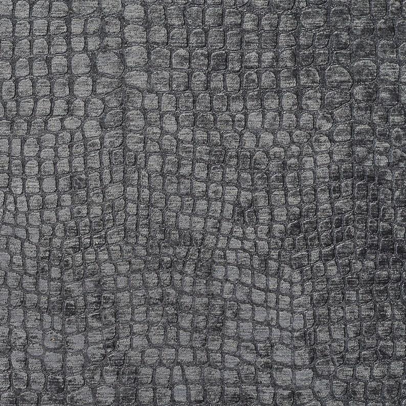 Grey Textured Alligator Shiny Woven Velvet Upholstery Fabric image 0