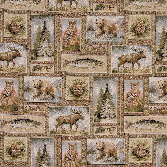 Rustic Bears Moose Trees Acorns And Fish Themed Tapestry Etsy