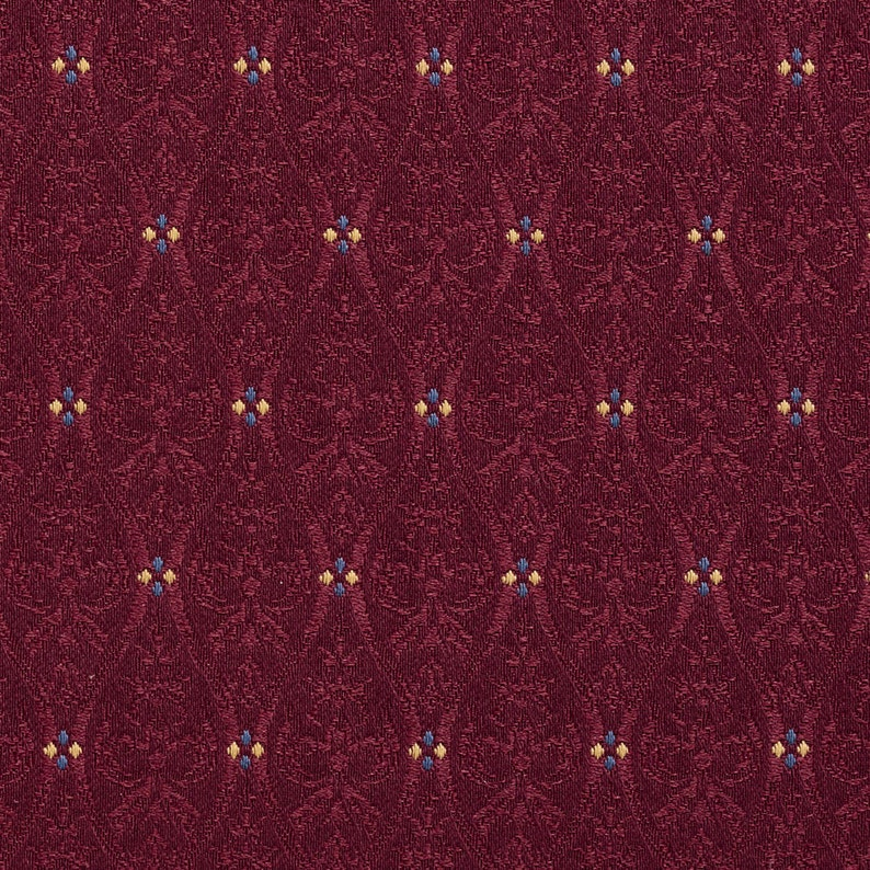 Burgundy Gold And Blue Waves Lines And Foliage Upholstery Fabric By The Yard Pattern # A478