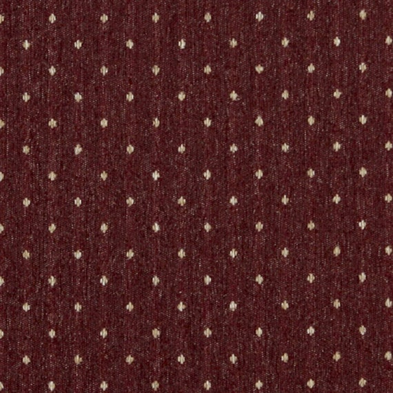 Burgundy And Beige Dotted Country Style Upholstery Fabric By Etsy