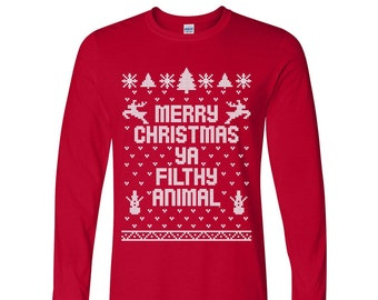 Merry Christmas Ya Filthy Animal You Ugly Sweater Contest Etsy