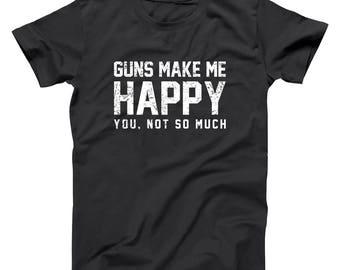 8fbf69d5e Guns Make Me Happy Funny Nra Freedom Army Usmc Basic Men's T-Shirt DT2200