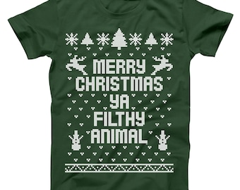 merry christmas ya filthy animal you ugly sweater contest party sm 5xl cute holiday gift xmas outfit holidays basic mens t shirt db0002