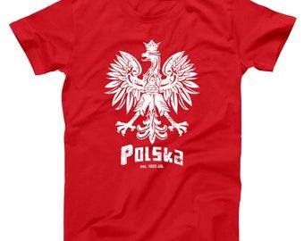11664496 Polska Crest Poland Polish Pride White Eagle Soccer Flag Basic Men's T-Shirt  DT0211