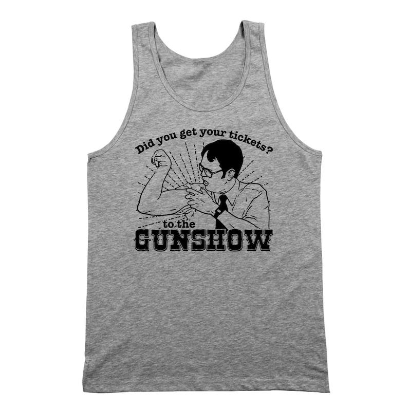 The Dwight Schrute Gun Show Funny Office Humor Comedy Gray Basic Men/'s T-Shirt