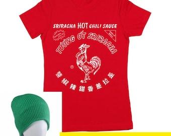 Sriracha Bottle Costume With Hat Funny Humor Hot Sauce Women's T-Shirt DT0058