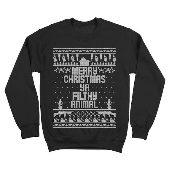 8072b30db Home Merry Christmas Ya Filthy Animal Funny Xmas Sweater | Etsy