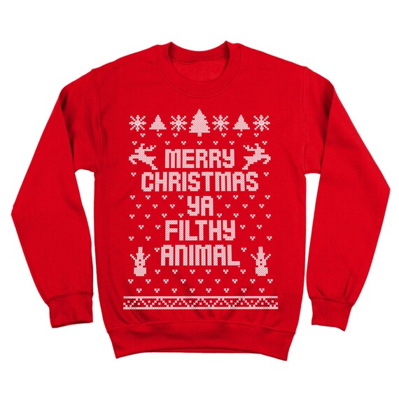 84ad748f9 Merry Christmas Ya Filthy Animal Funny Xmas Ugly Sweater | Etsy
