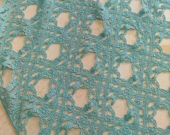 Silk lace cloth 3m light blue dyed by fresh indigo leaf