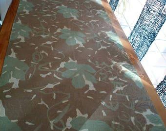 naturally dyed light brown green silk, Wax resisted dyed, Tsumugi kimono fabric, 35cm width, no.019