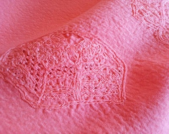 safflower dyed pink silk fabric, embroidery, 37.5cm width, no.018