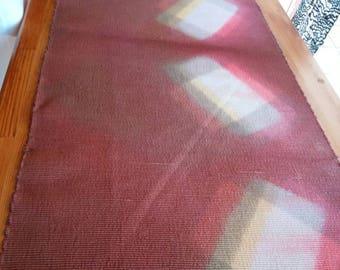 naturally dyed red purple silk, Shibori Itajime dyed, kimono obi fabric, 37cm width, no.023 price@50cm