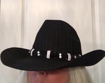 Swarovski Crystal/Rhinestone Cowboy Hat Band Black
