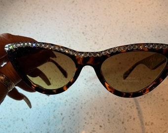 Swarovski Crystal Sunglasses - Cats Eye Brown Tint