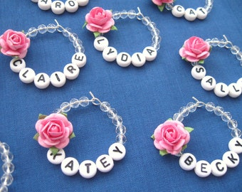 Birthday Wedding Pink Rose Name Wine Glass Charm Hen Party Christmas