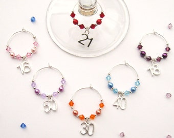 Birthday Wine Glass Charm - 16th/18th/21st/30th/40th/50th/60th - Various-Colours