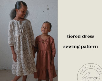 Tiered Boho Dress Sewing Pattern for Girls | The Betty Girl Pattern | PDF Sewing Pattern