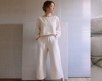 Women's Lounge Set Sewing Pattern | PDF Sewing Pattern | Ada Lounge Set | Top and Pants Beginner Sewing
