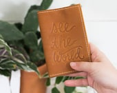 Personalized Embossed See The World Leather Passport Cover, Travel Wallet, Honeymoon Gift, Graduation Gift   The Earhart