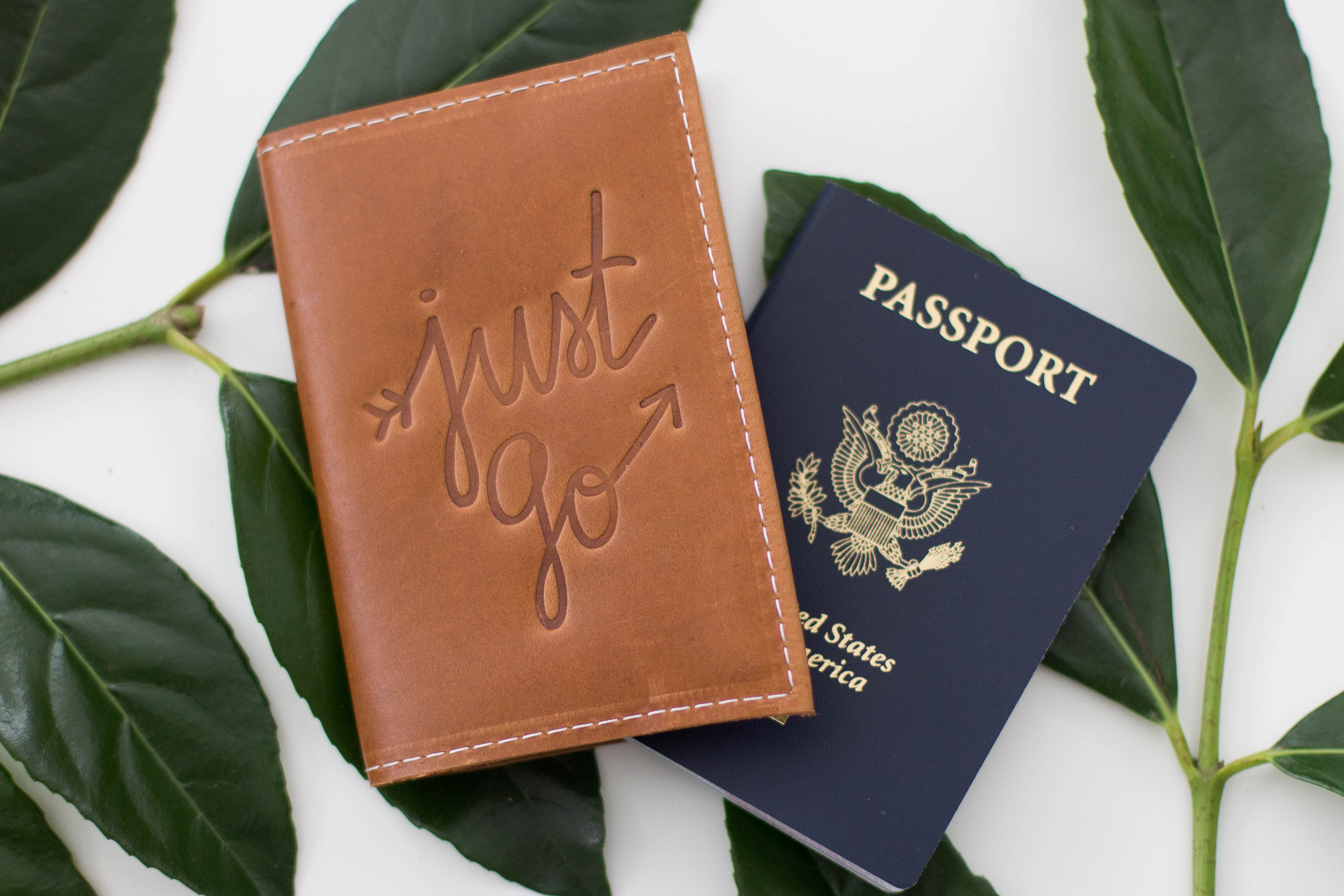 50da2df5a Personalized Just Go Embossed Leather Passport Cover Travel