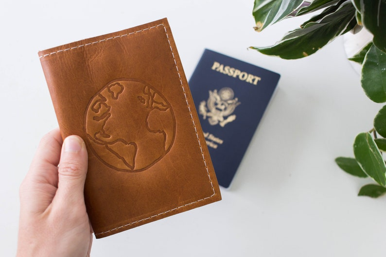 fb6aef3798bf Personalized Leather Passport Wallet Globe Embossed Design, Travel Wallet,  Leather Travel Accessory, Passport Cover | The Armstrong