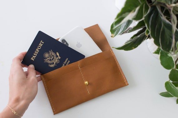 1fedeedc35 Personalized Leather Passport Wallet with Zipper Closure   Etsy