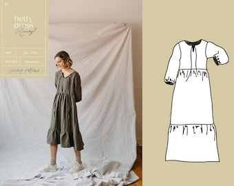 Tiered Dress PDF Sewing Pattern | Digital Download Boho Women's Sewing Pattern | The Betty Dress with pockets
