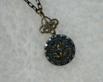 Handmade Necklace with Vintage Button