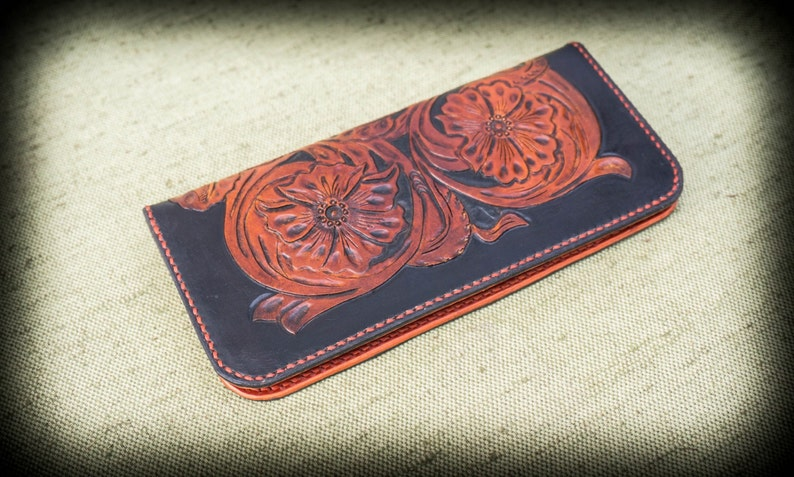 9df17a3d3 Genuine leather hand tooled Sheridan style long wallet   Etsy