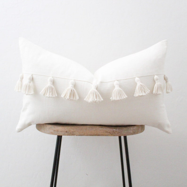 Ivory Lumbar Throw Pillow Cover with Tassels  Pillow Cover  image 0