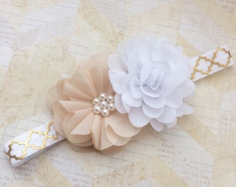 Beige and white headband,gold and white headband,floral headband,baby headband,infant headband,gold headband,baby girl,flower girl headband