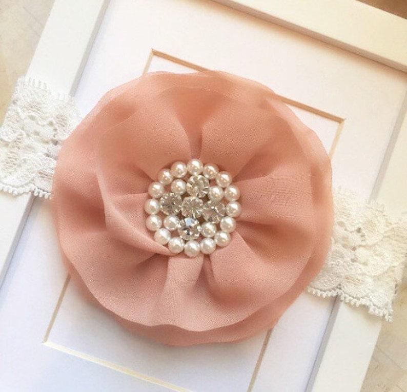 Nude headband,lace headband,big headbands,toddler headband,nude and cream lace headband,flower girl headband,wedding headband,vintage
