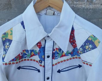 Vintage 1970's H Bar C Quilted Western Shirt v9VmhB3Tk