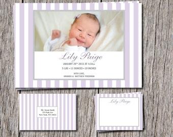 Elegant/Simple Baby Girl Birth Announcements