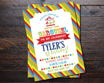 Carnival Birthday invitations/ Carousel Birthday Invitations
