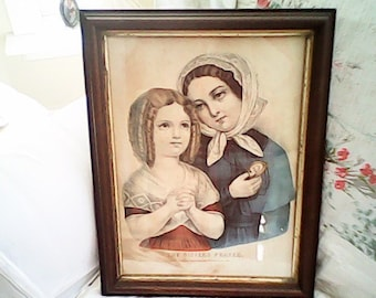 1870s CURRIER & IVES SISTERS Prayer Hand Colored Rare