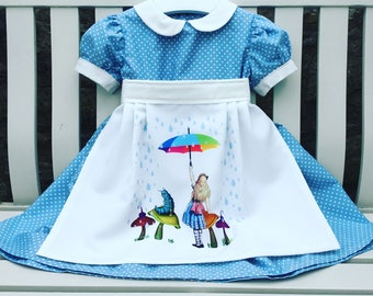 b232894184ab Alice in Wonderland blue and white apron dress baby toddler little girl's  Peter Pan collar 100% cotton ages 12 months to 2 3 4 5 6 years