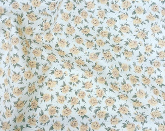 Beautiful small gold vintage style roses pretty floral flower quality 100% cotton fabric by Rose and Hubble by HALF METRE