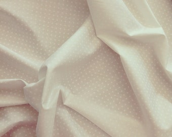 Ivory on white 3mm spot polka dot 100% cotton poplin Rose and Hubble fabric BY HALF METRE