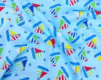 HALF PRICE SALE! Blue and red nautical boats sailing 100% quality cotton fabric by Rose & Hubble by half metre