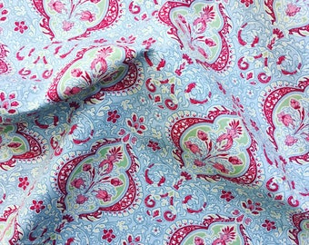 Pale blue grey and red vintage style floral flower 100% quality cotton fabric by Rose & Hubble by HALF METRE