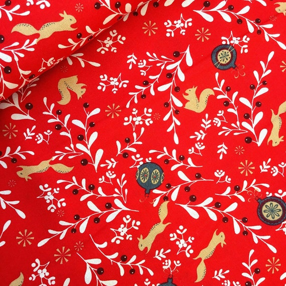 Red Christmas squirrel bauble 140cm Fabric Rose Hubble 100/% Cotton X HALF METRE