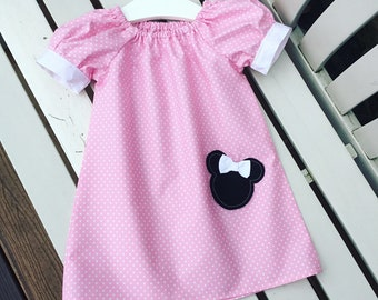 MINNIE MOUSE Disney dress in pink cotton fabric with puffed cuff sleeves age 12 mmonths, 2 years, 3 years, 4 years, 5 years, 6 years