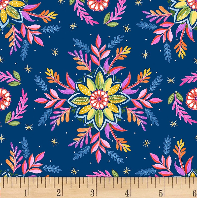 Gypsy Dreams blue yellow pink floral flower leaves 100/% cotton bright multicoloured fabric material dressmaking crafts quilting X HALF METRE